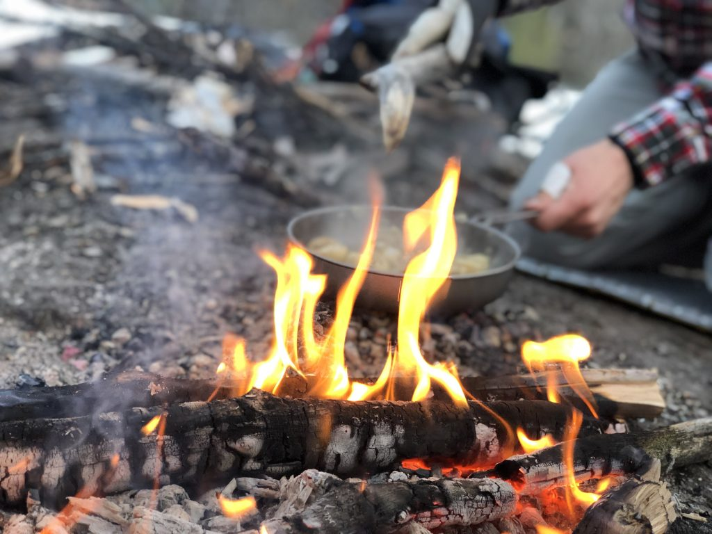 Campfire during a quick spring 1-day camping trip
